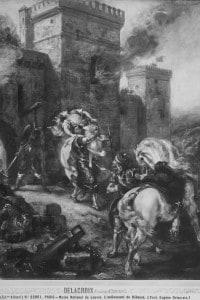 Il rapimento di Rebecca, soggetto tratto dal romanzo di Walter Scott, Ivanhoe. Il dipinto di Delacroix è conservato al Museo del Louvre di Parigi