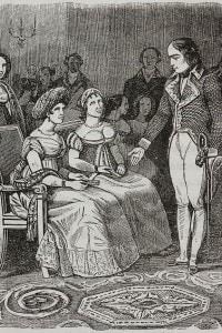 Napoleone Bonaparte e Madame de Stael durante un ricevimento a Parigi