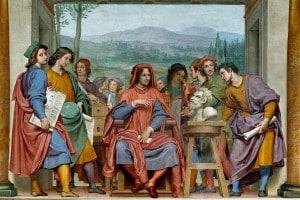 Lorenzo il Magnifico circondato dagli artisti: affresco di Ottavio Vannini