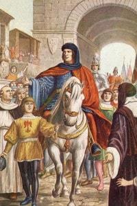 Lorenzo il Magnifico accolto dai fiorentini dopo aver fatto la pace con Napoli