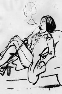 George Sand fuma la pipa e indossa un abito maschile, 1835