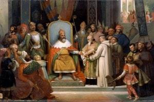 Carlo Magno riceve Alcuino, 780. Collezione del Museo di Storia della Francia, il Castello di Versailles.