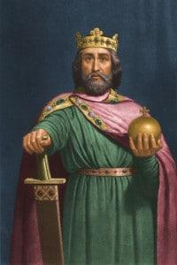 Carlo Magno, 800 d.C. Re dei Franchi e imperatore d'Occidente dall'800 fino alla sua morte. Ha in mano una sfera e una spada ingioiellata e indossa una corona