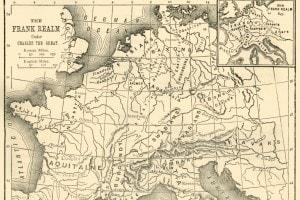 Mappa del regno dei Franchi sotto Carlo Magno