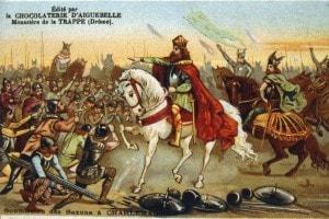 I Sassoni si sottomettono a Carlo Magno, 777. Litografia del XIX secolo