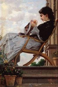 Donna che cuce sulla terrazza di Cristiano Banti, esponente di spicco del movimento dei Macchiaioli toscani