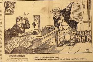 Illustrazione satirica della reazione di Giovanni Gentile al Manifesto degli intellettuali antifascisti scritto da Benedetto Croce