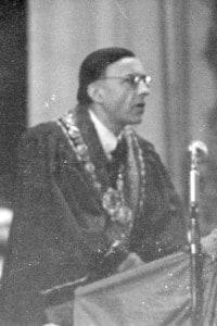 Hans-Georg Gadamer alla solenne riapertura dell'Università di Lipsia il 5 febbraio 1946
