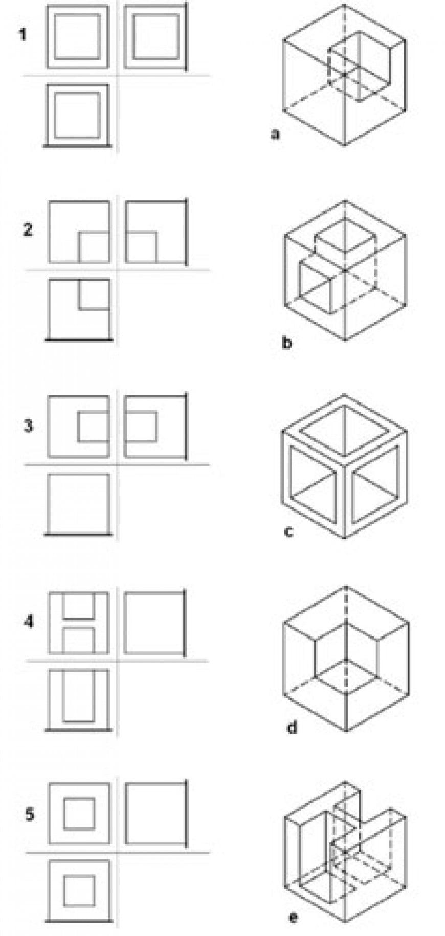 Abbinare correttamente le figure in assonometria isometrica con le corrispondenti proiezioni ortogonali.