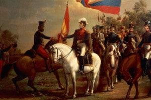 Simon Bolivar in onore della bandiera dopo la battaglia di Carabobo, 24 giugno 1821. Dipinto di Arturo Michelena
