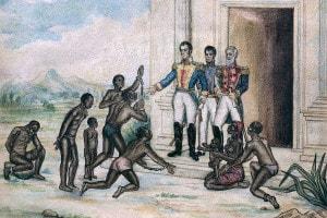Simon Bolivar libera gli schiavi nel 1816. Acquarello su carta di Cancino Fernandez Luis