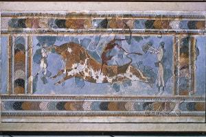 Affresco. Salto sul toro in corsa (o taurocatapsia). Museo Archeologico di Heraklion