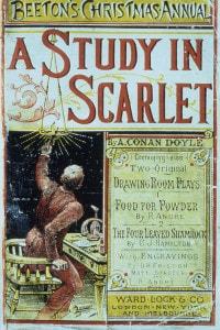 """Una riproduzione di una copia del libro """"Uno studio in rosso"""" di Doyle"""