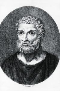 Ritratto di Talete di Mileto. Incisione di Luigi Rados