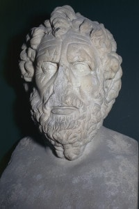Capo di Talete di Mileto, filosofo greco antico. Fondatore della scuola ionica. Scultura della domus dei Valerii, Roma