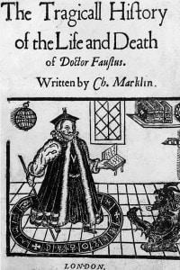 La tragica storia della vita e della morte del Dottor Faustus. Copertina del 1616
