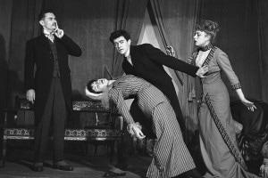 La cantatrice calva di Ionesco. Gli attori: Mansard, Mozet, Bataille e Frantz. Parigi, teatro Noctambules. Maggio 1950