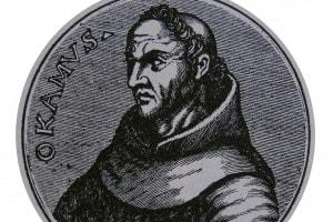 Ritratto di Guglielmo di Ockham (1285-1347): frate francescano inglese e filosofo e teologo scolastico