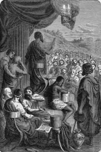 """Lo storico greco Erodoto legge le sue """"Storie"""" ai greci"""