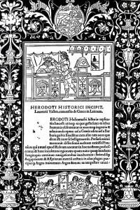 Storie di Erodoto. Incipit. Traduzione in latino da Lorenzo Valla (Venezia, 1494)