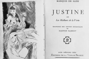 """Frontespizio di """"Justine o le disavventure della virtù"""" del Marchese de Sade. Illustrazione di Gaston Barret"""