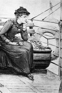 Daisy Miller a bordo di una nave in una scena della novella di Henry James