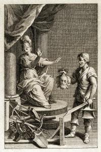 """Un giudice rifiuta l'offerta di una testa mozzata da un carnefice. Frontespizio del saggio """"Dei delitti e delle pene"""" di Cesare Beccaria"""