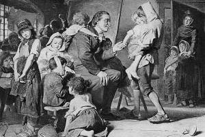 Pestalozzi che insegna ai bambini in un dipinto di Karl Grob