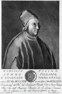 Ritratto di Marsilio Ficino (1433-1499), filosofo, scrittore e teologo italiano. Incisione di Francesco Allegrini