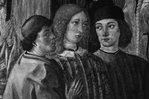 Pico della Mirandola, Marsilio Ficino e Agnolo Poliziano ritratti negli affreschi di Cosimo Roselli nella Cappella del Miracolo in Sant'Ambrogio a Firenze