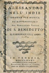 Alessandro nell'Indie: libretto di Pietro Metastasio