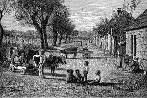 Alloggi per schiavi in una piantagione in Georgia (USA)