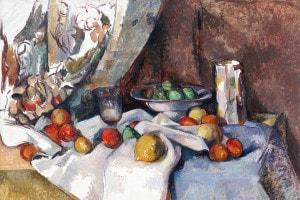 Natura morta con tenda e brocca a fiori di Paul Cézanne, 1895-1898. Olio su tela, 92,7 x 68,6 cm