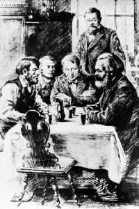 Conversazione tra Karl Marx e lavoratori in una pensione