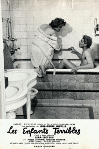 """Scena della produzione del 1950 del romanzo """"Les enfants terribles"""" di Jean Cocteau. Attori: Nicole Stéphane e Edouard Dermithe"""