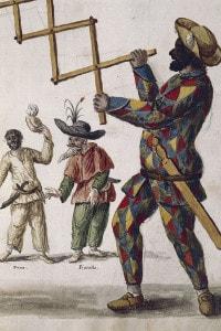 Arlecchino, personaggio della Commedia dell'arte. Illustrazione tratta dal libro Illustrato di costumi veneziani di Jan Grevenbroeck, acquerello. Italia, XVIII secolo