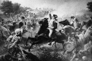 George Washington nella battaglia di Monmouth nel New Jersey durante la rivoluzione americana, 28 giugno 1778