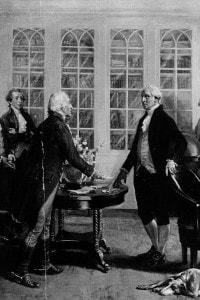 Illustrazione che mostra George Washington che riceve la notizia della sua elezione a primo Presidente americano, 1789