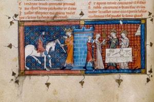 "Perceval arriva al Castello del Graal. Da ""Perceval o il racconto del Graal"" di Chrétien de Troyes, 1330. Bibliothèque Nationale de France"