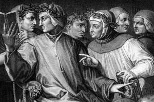 I sei poeti italiani di Georges Vasari. Dante, Petrarca, Cavalcanti, Boccaccio, Da Pistoia e Guittone d'Arezzo