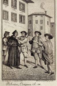 Una scena della Cortigiana, commedia di Pietro Aretino