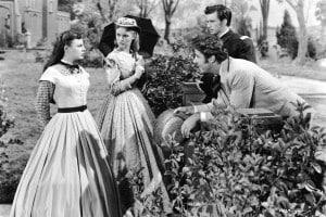 """Gli attori June Allyson, Janet Leigh, Peter Lawford e Richard Wyler. Adattamento cinematografico di """"Piccole donne"""" di Louisa May Alcott e diretto da Mervyn LeRoy, 1949"""