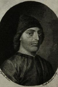Ritratto di Guarino Veronese (1374-1460). Poeta italiano. Incisione di Joseph Benalea dopo un disegno di Gigola