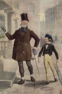 I personaggi Mr Micawber e Young Copperfield  in un'illustrazione del romanzo di Charles Dickens: David Copperfield