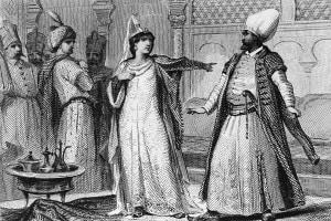 Bajazet e Roxane, illustrazione per il 2 ° atto di Bajazet, tragedia di Jean Racine