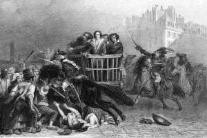 Le ultime vittime del regno del terrore vengono portate alla ghigliottina in un tumbrel, 1794
