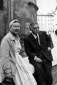 Simone De Beauvoir e Jean-Paul Sartre a Roma nel 1963