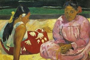 Due donne tahitiane sulla spiaggia, 1891. Olio su tela di Paul Gauguin: 69x91 cm. Parigi, Musée D'Orsay
