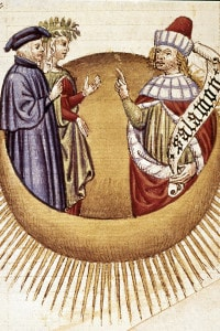 Paradiso, Dante e Beatrice con il Re Salomone. Miniatura della Divina commedia di Dante Alighieri. Biblioteca Laurenziana, Firenze