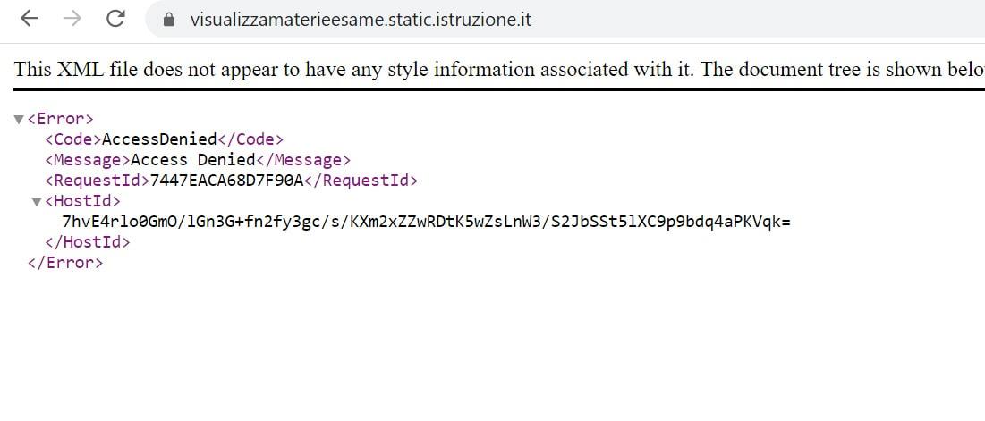 Il messaggio di errore sul sito del Miur